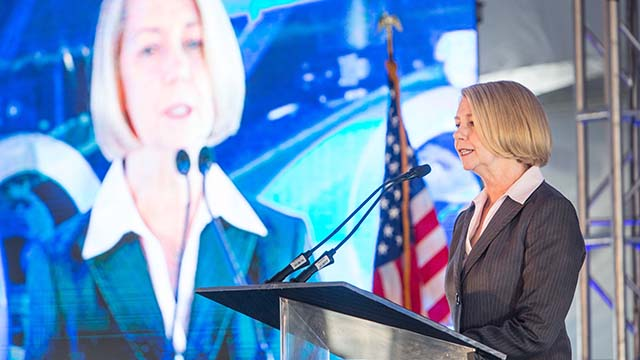 Maureen A. Stapleton at a desalination project dedication.
