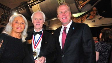 San Diego Mayor Kevin Faulconer shared time with Apollo 9's Rusty Schweickart and the astronaut's wife, Nancy, of Sonoma.