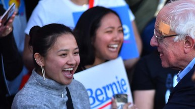 Young supporters delight in meeting Sen. Bernie Sanders at the end of the rally in downtown San Diego.