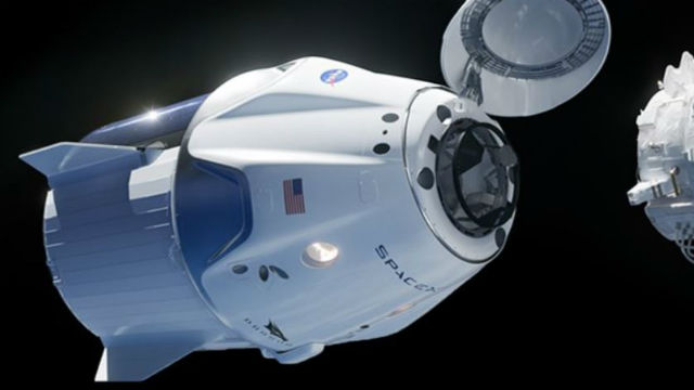 Rendering of SpaceX Crew Dragon approaching the space station