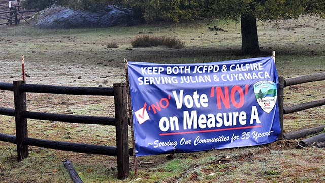 """A """"no"""" vote on Measure A in the Julian-Cuyamaca Fire Protection District would preserve the last volunteer fire department in San Diego County."""