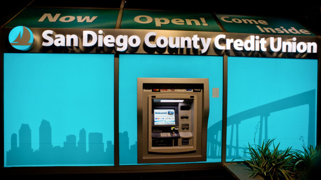An SDCCU ATM in North Park with new lighting.