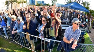 Supporters of Bernie Sanders packed the lawn at Waterfront Park.