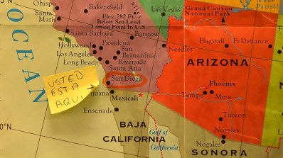 """A """"You are here"""" note points to San Diego, so those from other countries can get their bearings."""