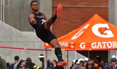 Keenon Laine of Georgia bails out of a high jump attempt at Mt. Sac Relays in Torrance.