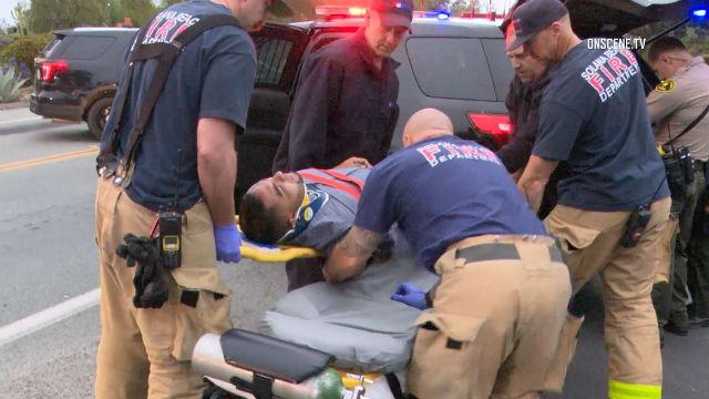 Pursuit suspect taken to ambulance