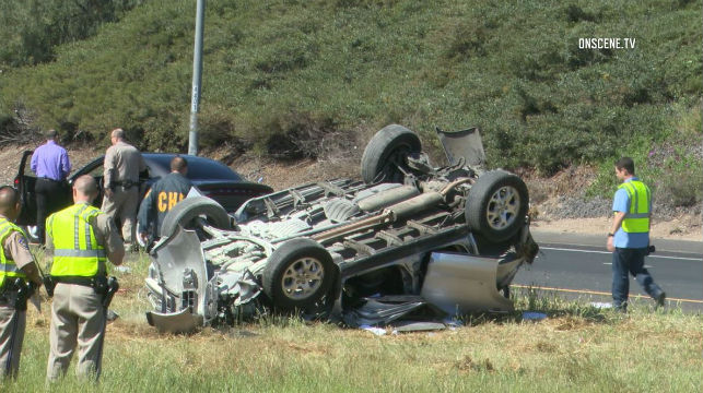 Wreckage from rollover crash on Route 125