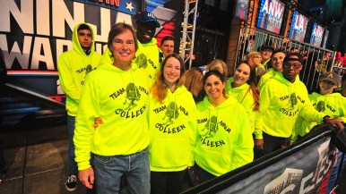 Colleen Barney's co-workers and track friends joined the family to cheer her on at Universal Studios.