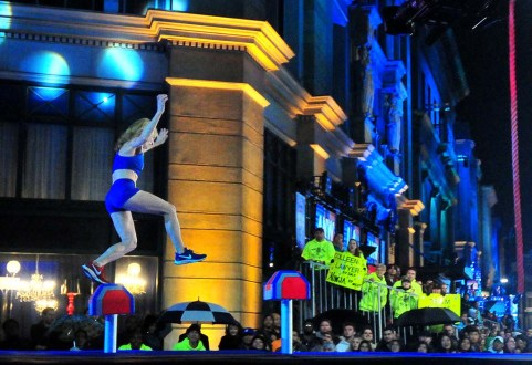 """Colleen Barney finds herself short of step No. 5 on the opening obstacle of """"American Ninja Warriors."""""""