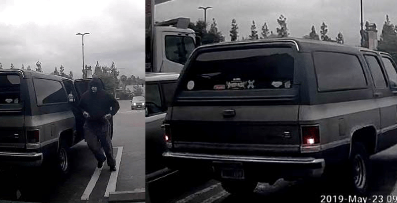 Surveillance photos show getaway vehicle and masked bandit in Escondido bank robbery.