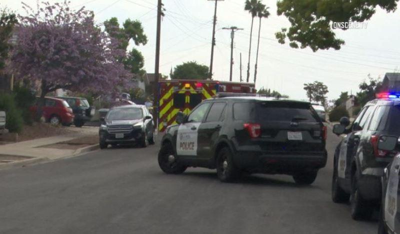 La Mesa Police vehicles at scene of shooting