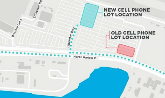 Map shows location of current and new cell phone lots
