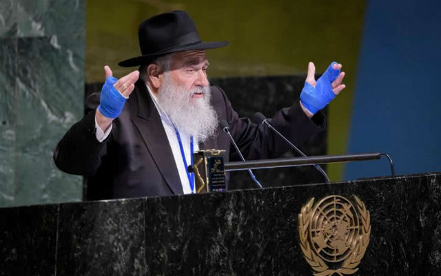 Rabbi Yisroel Goldstein speaks at the United Nations