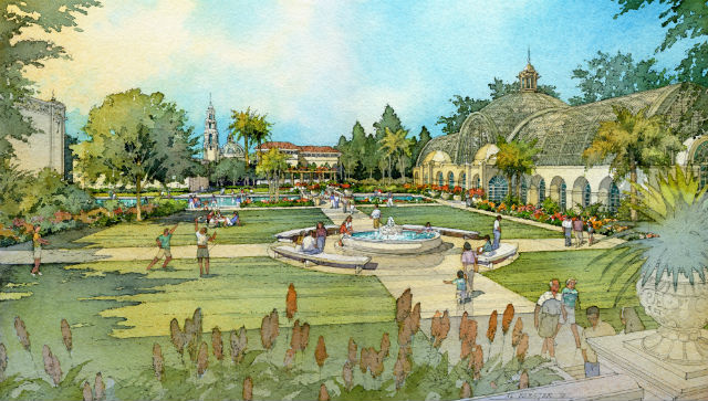 Watercolor rendering of planned Botanical Building renovation