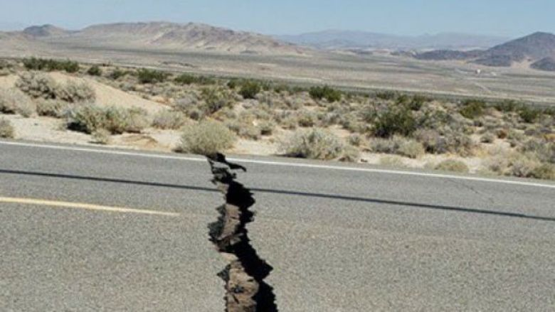 Crack across Route 178 near Trona