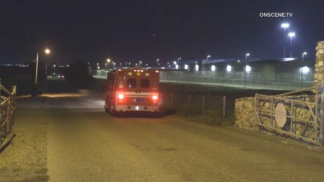 Ambulance enters Richard J. Donovan Correctional Facility