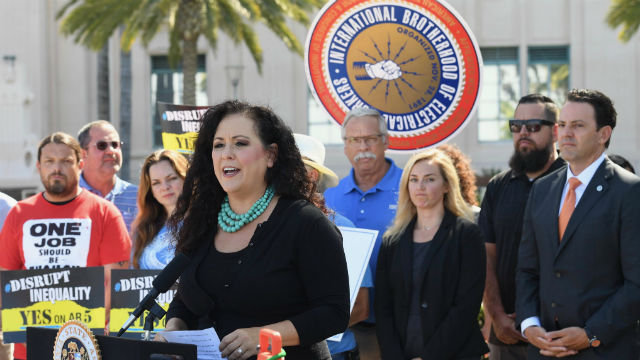 Lorena Gonzalez speaks at rally