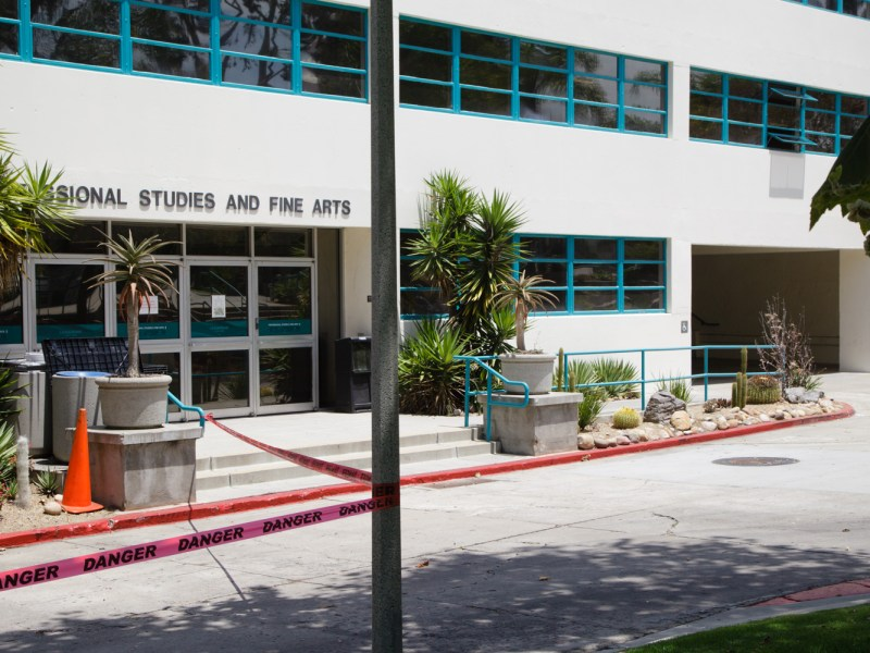 Some science labs and offices remain open in the Professional Studies and Fine Arts building at San Diego State University as renovations continue, July 25, 2019.