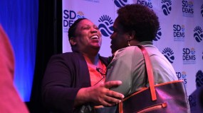 Tasha Williamson embraced fans after debate in which she called for the city to become a landlord — adding housing on public lands and in unused buildings.