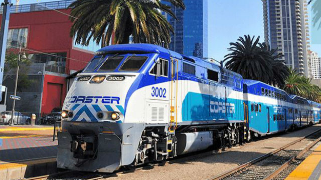 COASTER train in downtown San Diego