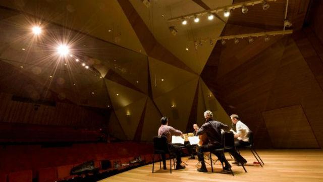 Trio practices at Conrad Prebys Concert Hall