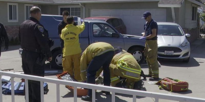 Paramedics at the scene of the crash