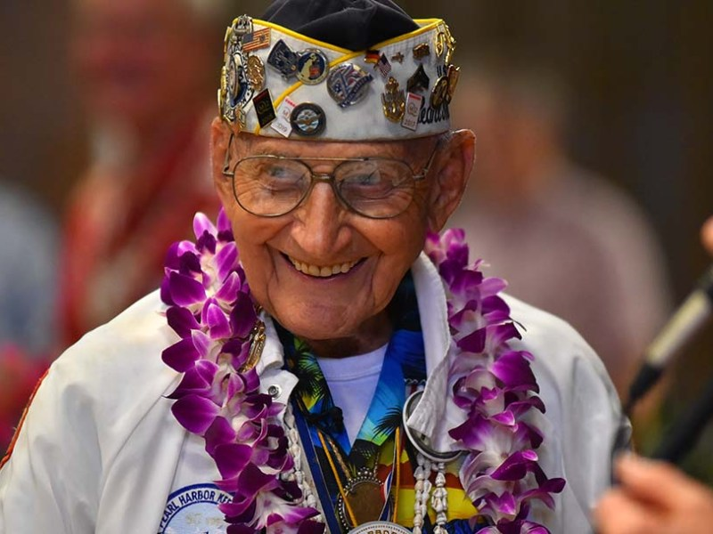 Pearl Harbor survivor Stu Hedley joked that he was turning 89 next month before telling people to transpose the number to 98.