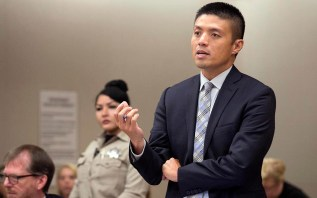 Deputy District Attorney Leonard Trinh questions witness Oscar during the preliminary hearing for John Earnest.