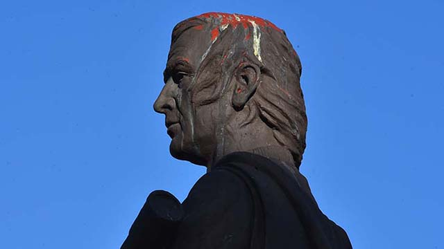 Red paint from vandalism in February 2019 was still present Saturday on the top of the statue at Discovery Park in Chula Vista.