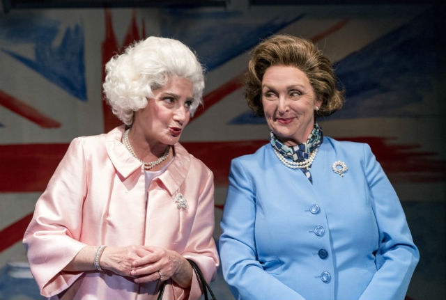 Sandy Campbell as the older Queen Elizabeth II and Linda Libby as the older Margaret Thatcher in handbagged