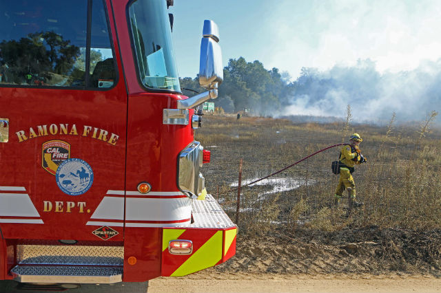 Firefighter at Sawday fire