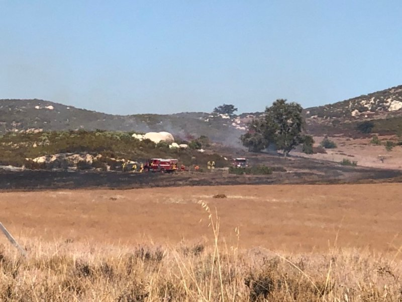 Cal Fire crews battle brush fire