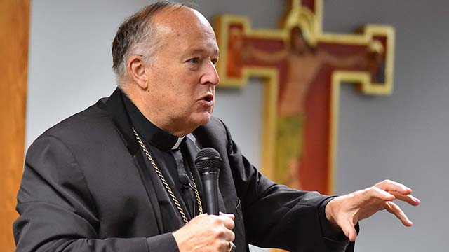 Bishop Robert McElroy at climate-change seminar.