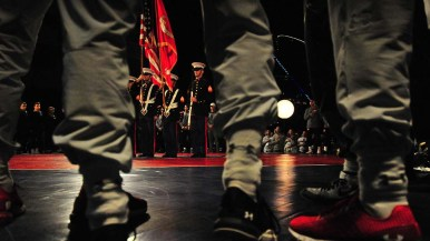 Army and Navy athletes saluted color guard at the beginning of the event.