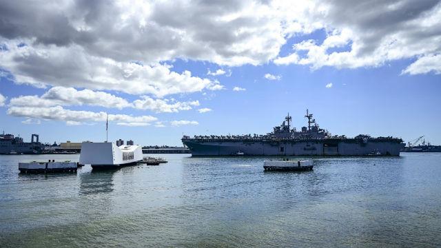 USS Boxer passes USS Arizona memorial