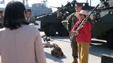 At the military display at the Broadway Pier during Fleet Week visitors have a chance to check out weaponry.