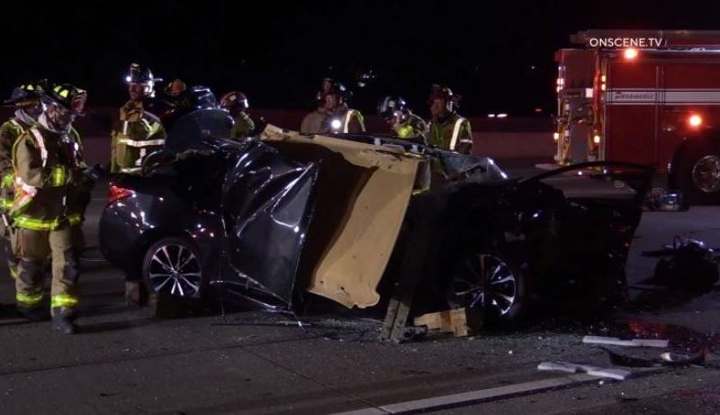 Wreckage of vehicle on I-15