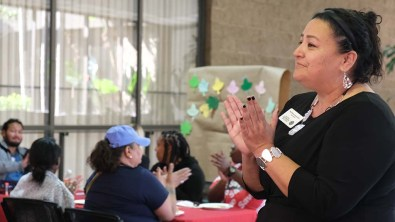 Star Rivera-Lacy, vice president of student services at San Diego Community College District, recognizes students' persistence.