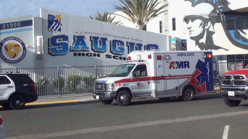 Ambulance outside high school