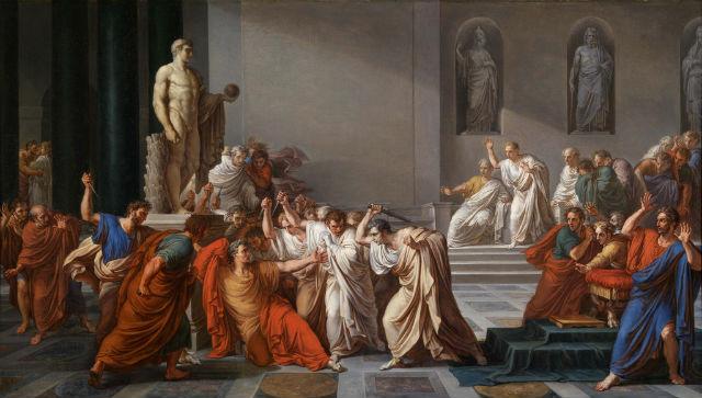 Painting of the assassination of Julius Caesar