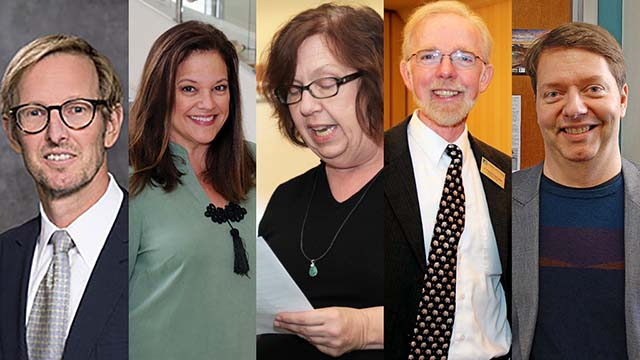 The first five San Diego signatories of letter calling Trump conduct impeachable were (from left) Timothy Casey, Joy Delman, Ilene Durst, A. Thomas Golden and Bryan H. Wildenthal.