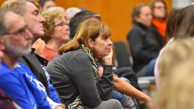 Many members of local Indivisible groups paid rapt attention to five leading Democratic contenders in the 53rd Congressional District.