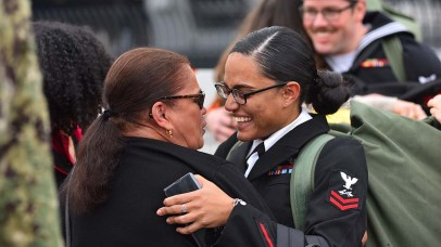 Tamara Perez shares an emotional moment with her mother at the homecoming of the USS Abraham Lincoln.