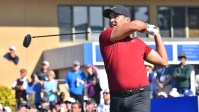 Jason Day of Australia tees off Hole 1 of the south course at Farmers Insurance Open.