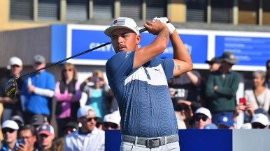 Ricky Fowler tee off on hole one of the south course on Thursday at the Farmers Insurance Open