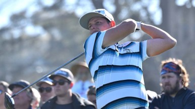 Cameron Smith of Australia tees off of Hole 1 on the north course at the Farmers Insurance Open.
