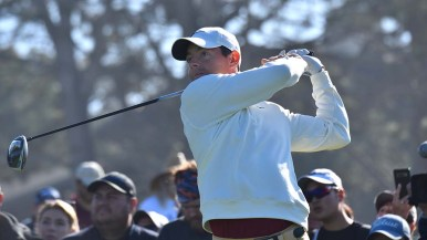 Rory McIlroy of Northern Ireland tees off Hole 1 of the north course at Farmers Insurance Open.