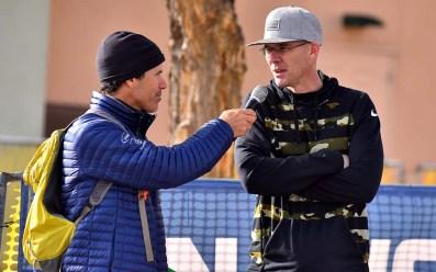 Phillip Dunn interviews fellow racewalk Olympian John Nunn, the 2016 winner, at the 2020 U.S. Olympic Trials.