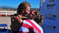 Nick Christie gives a smooch to his Olympic Trials-winning girlfriend Robyn Stevens in Santee.