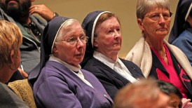 Nuns attended the talk sponsored by the Frances G. Harpst Center for Catholic Thought and Culture.